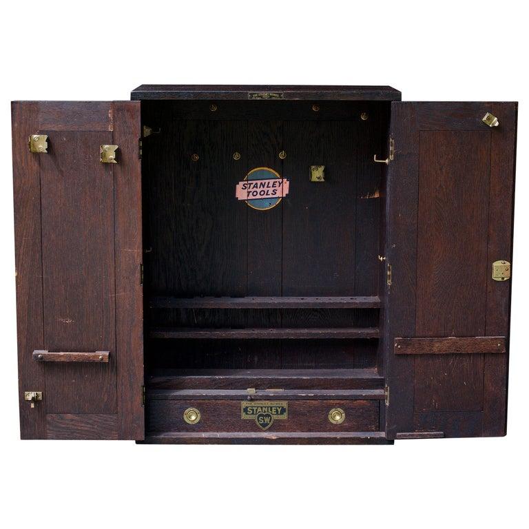 1920s Oak Stanley Tools Wall Cabinet Box Vintage Industrial Porsche Garage Chest For Sale