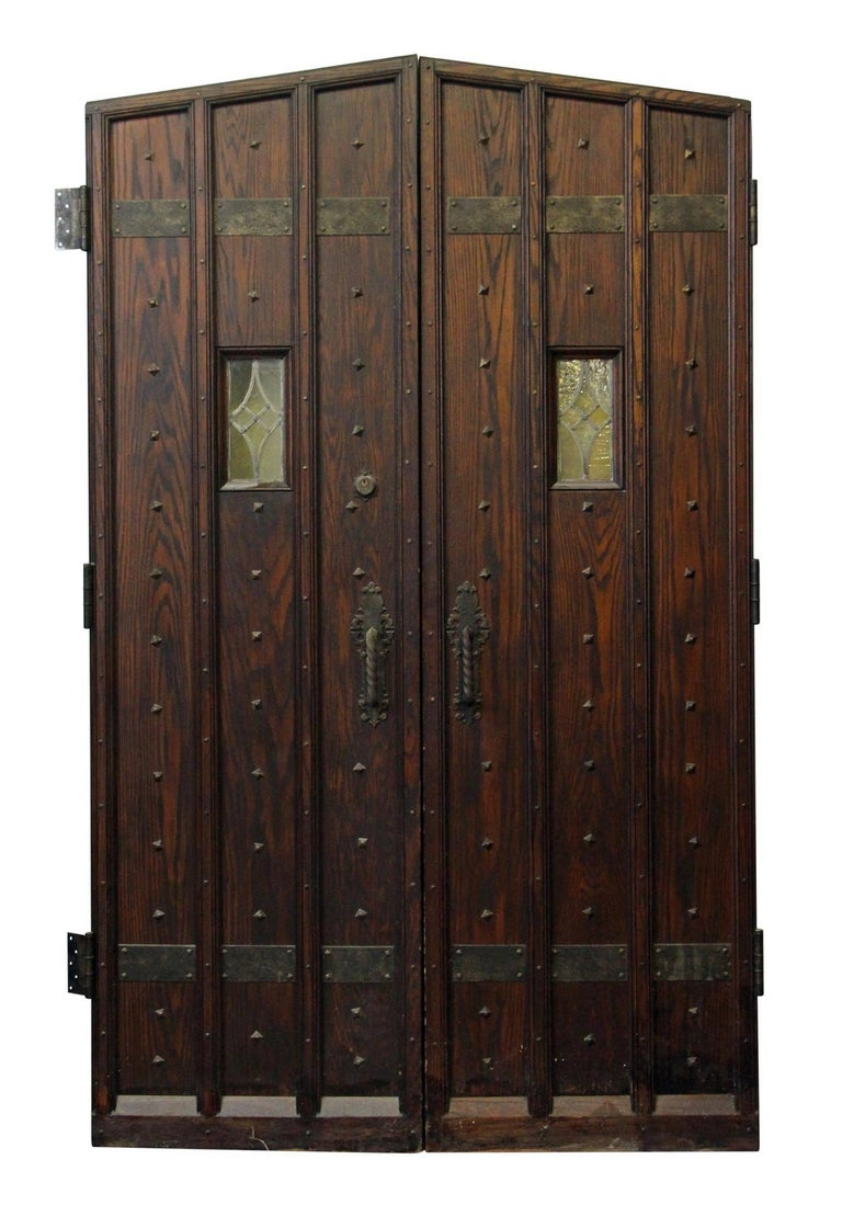 1920s Oak Wine Cellar Double Entry Doors With Gothic Arch At 1stdibs