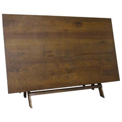 1920s Oak Wooden Architect Drafting Table with Adjustable Wooden Base