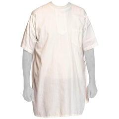 1920'S Off White Cotton Men's Antique Edwardian Doctor's Shirt