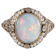1920s Opal and Pearl Filigree Ring