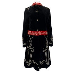 1920s or 1930s Incredible Black Velvet, Cord & Silver Metal Disc Guard Coat
