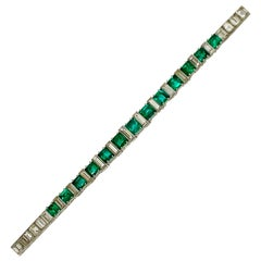 1920s Original Art Deco Emerald Diamond Important Line Bracelet