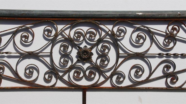 1920s Ornate Hand Wrought Iron Floral Balcony Railing
