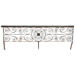 1920s Ornate Hand Wrought Iron Floral Balcony Railing Piece