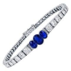 1920s Oval Sapphire and Diamond Bracelet AGL Certified
