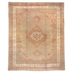 1920s Oversized Antique Turkish Oushak Carpet, Neutral Field, Orange Borders