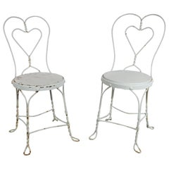 1920s Painted White Wrought Iron Chairs, Property of the Beales of Grey Gardens