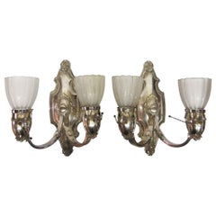 1920s Pair of 2-Light Bradley & Hubbard Nickel Over Bronze Sconces with Shades