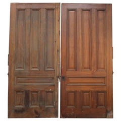 1920s Pair of Antique 7 Panel Cherry Pocket Doors