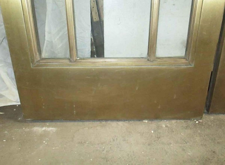 1920s Pair of Antique Brass Entryway French Doors with 9 Lites Each For Sale 5