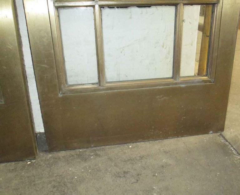 1920s Pair of Antique Brass Entryway French Doors with 9 Lites Each For Sale 6