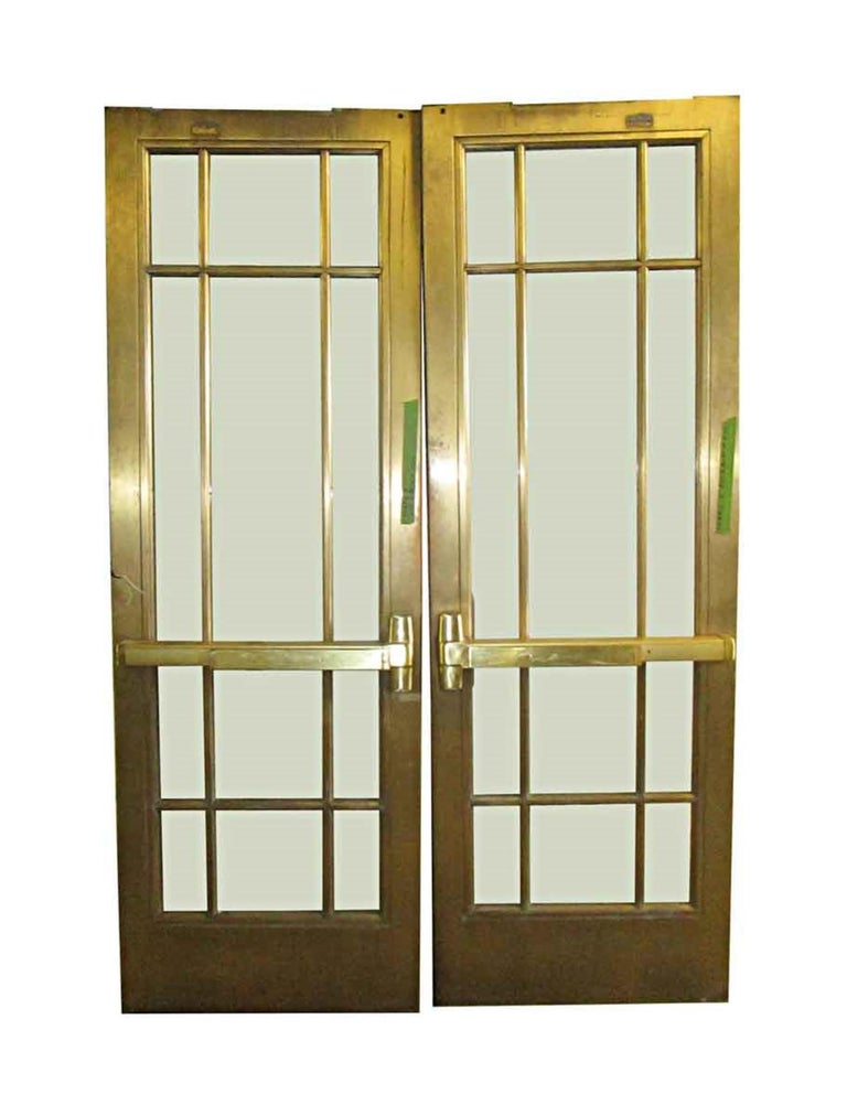 1920s Pair of Antique Brass Entryway French Doors with 9 Lites Each For Sale 1