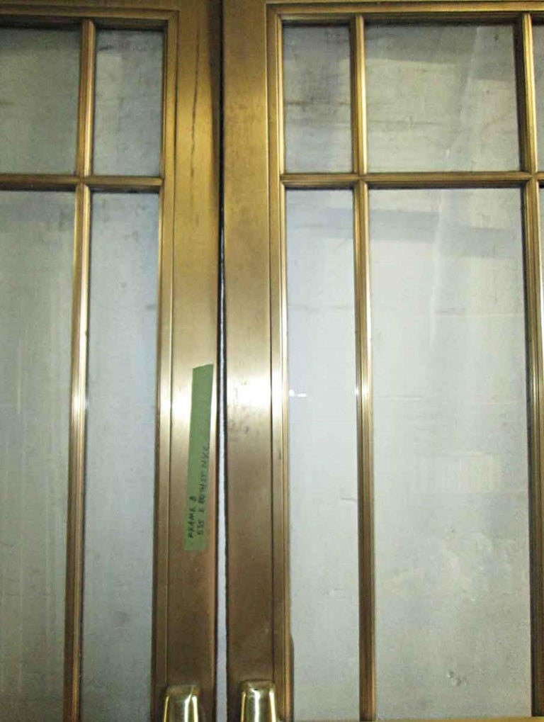 1920s Pair of Antique Brass Entryway French Doors with 9 Lites Each For Sale 2