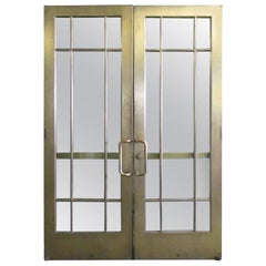 1920s Pair of Antique Brass Entryway French Doors with 9 Lites Each