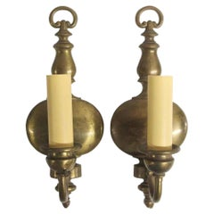 1920s Pair of Antique Brass Federal Wall Sconces with a Single Light Each