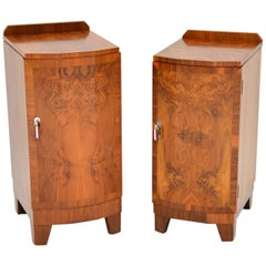 1920s Pair of Art Deco Burr Walnut Bedside Cabinets