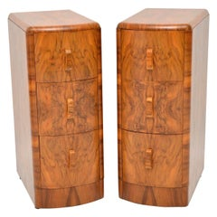 1920s Pair of Art Deco Walnut Bedside Chests