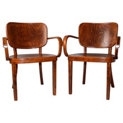 1920s Pair of Bentwood Armchairs by Bernkop, Czechoslovakia