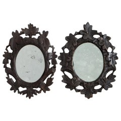1920s Pair of Black Forest Mirrors