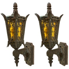 1920s Pair of Bronze Exterior Sconces Gothic Tudor Style