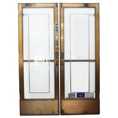 1920s Pair of Bronze and Glass Entry Doors from a Manhattan Lobby