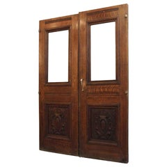 1920s Pair of Carved Solid Oak Double Entry Doors from E. 22nd and Park Ave