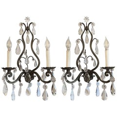 1920s Pair of Elegant French Wall Sconces in Bronze with Complementary Crystals