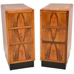 1920s Pair of Figured Walnut Art Deco Bedside Cabinets