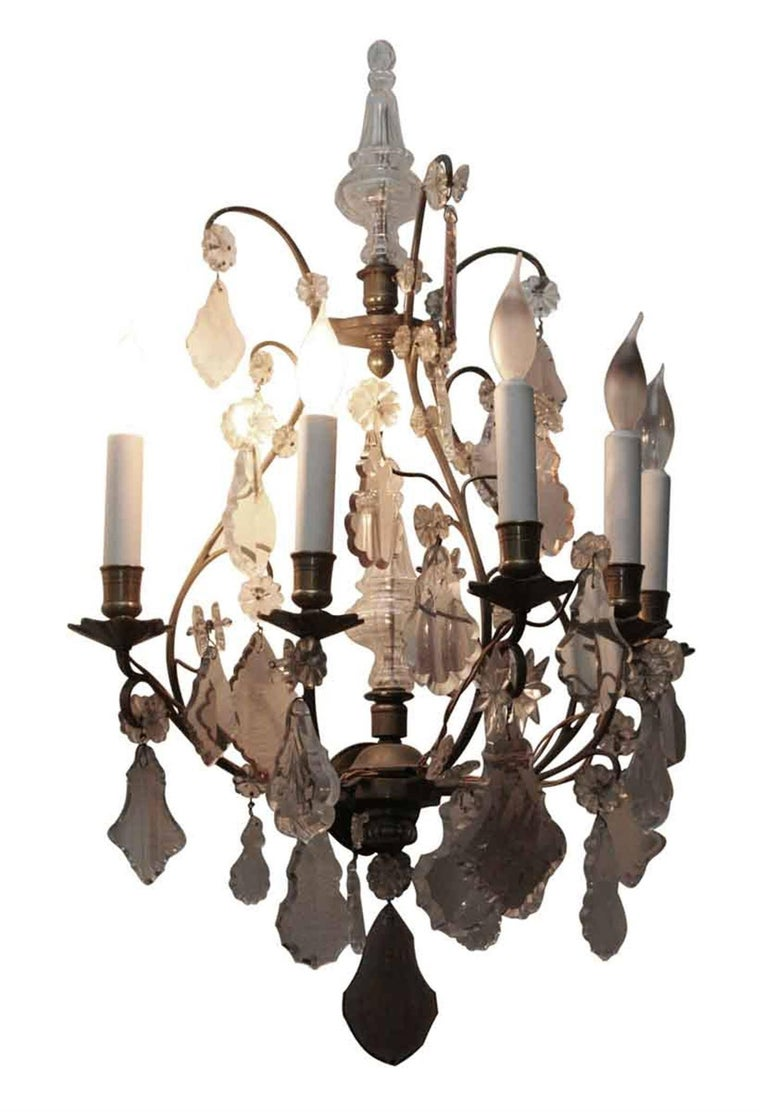 French 1920s Pair of Five-Arm Baccarat Bronze and Crystal Sconces For Sale