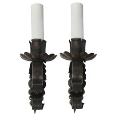 1920s Pair of Iron Tudor Single Arm Sconces