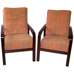 1920s Pair of Jan Vanek Art Deco Adjustable Armchairs for UP Závody