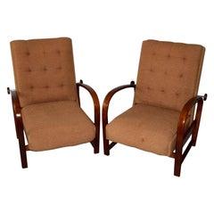 1920s Pair of Kropacek and Kozelka Adjustable Art Deco Bentwood Armchairs
