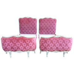 Pair of 1920's Louis XV-Style Twin Painted Pink Beds