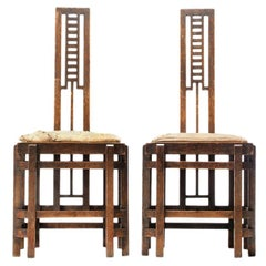 1920s Pair of Modernist Ladder Back Chairs Attributed to Josef Urban