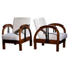 1920s, Pair of Oak Art Deco Club Lounge Armchairs
