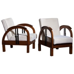1920s, Pair of Oak Art Deco Club Lounge Armchairs
