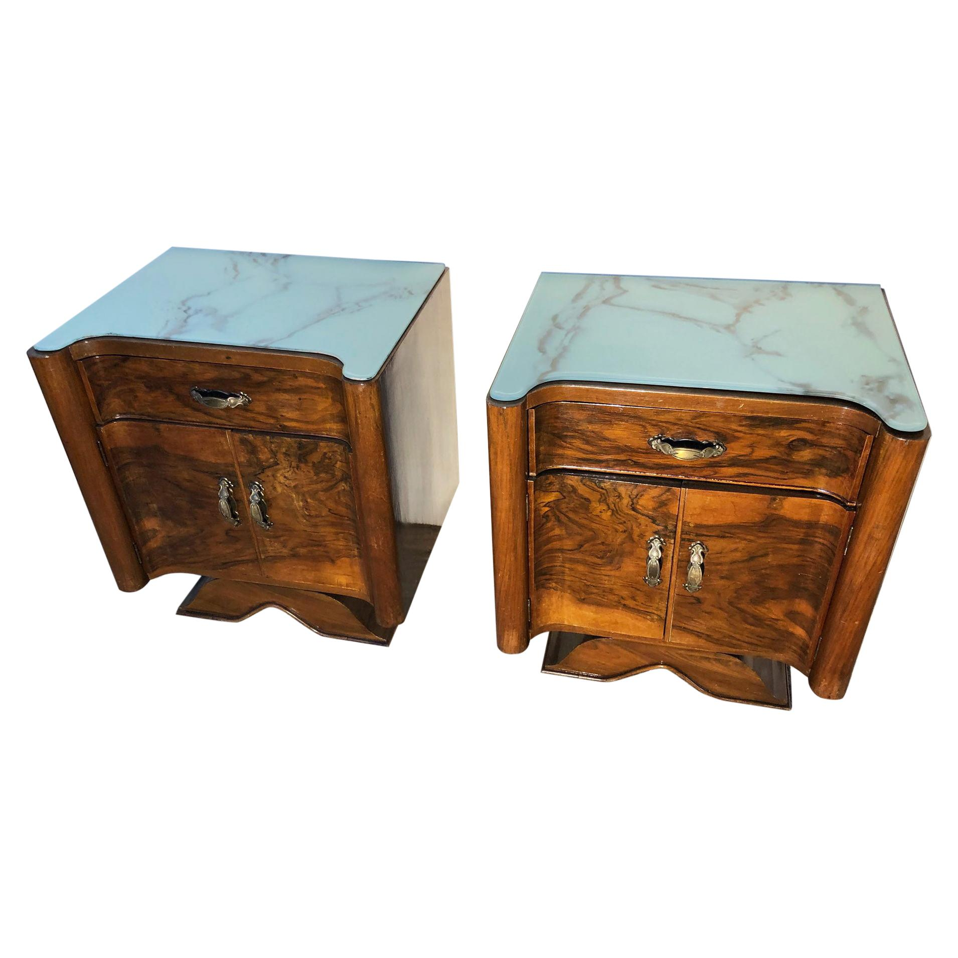 1920's Pair of Original Italian Decò Nightstands Walnut Marbled Glass