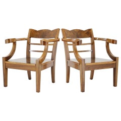 1920s Pair of Rare Art Deco/Cubism Armchairs, Czechoslovakia