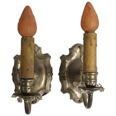 1920s Pair of Rococo Wall Sconces in Silver Finish Brass Single Light Each