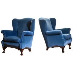 1920s, Pair of Romantic Swedish Blue Velvet Wingback Club / Lounge Chairs