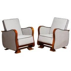 1920s, Pair of Scandinavian Art Deco Armchair/Lounge Chair Silver Grey on Walnut