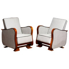 1920s, Pair of Scandinavian Art Deco Armchair/Lounge Chair Silver Grey on Walnut