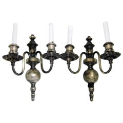 1920s Pair of Silver Over Cast Brass Sconces with Two Arms