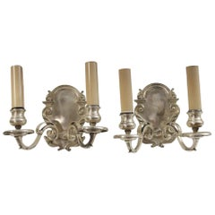 1920s Pair of Traditional Silver Plated Brass Sconces, Quantity Available