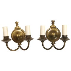 1920s Pair of Two Arm Antique Brass Finish Sconces with Short Candlesticks Qty