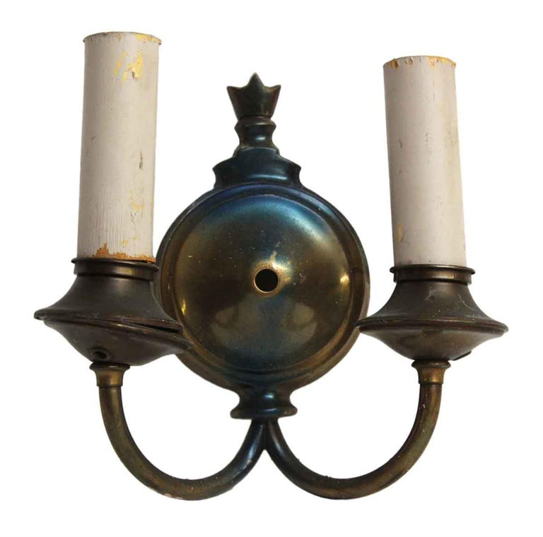 1920s Pair of Two-Arm Bronze Finished Sconces For Sale 1