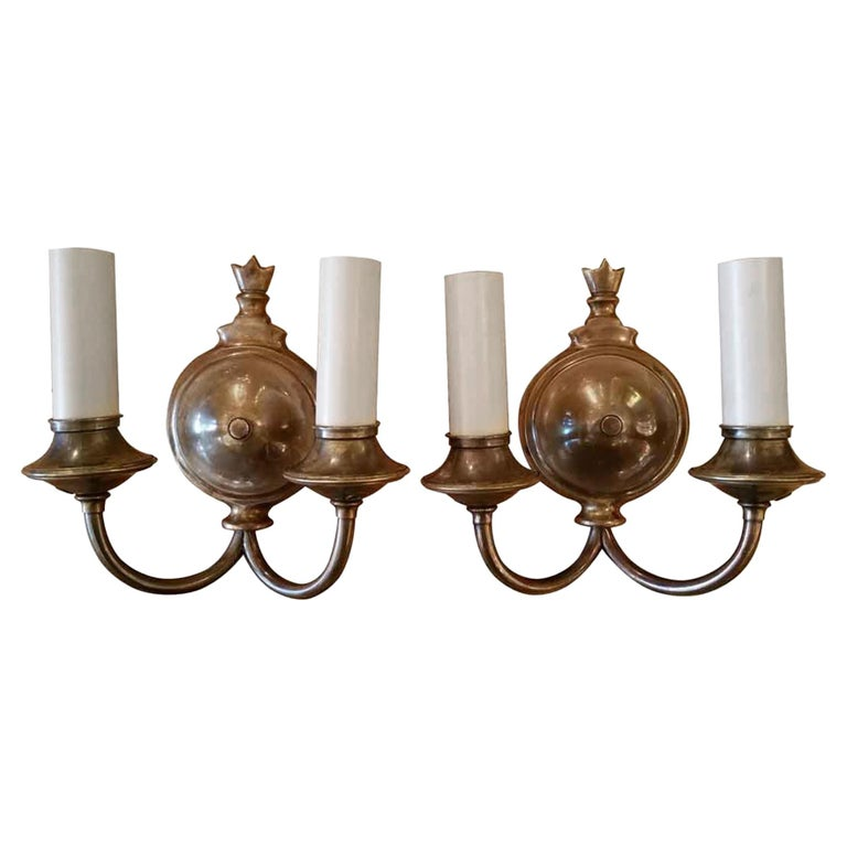 1920s Pair of Two-Arm Bronze Finished Sconces For Sale