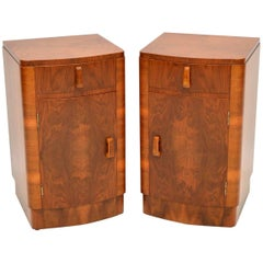 1920s Pair of Walnut Art Deco Bedside Cabinets