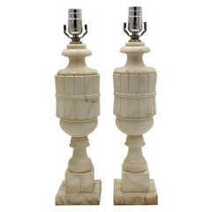 1920s Pair of White Alabaster Table Lamps